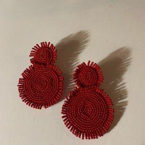 Red Beaded Earrings. NWT